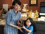 Beatrice with the Vajrayogini statue she invited from Kechara House Souvenir Shop as an offering to our beloved and precious Guru on her daughter's birthday. www.vajrasecrets.com Lucy Yap