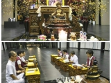 Jill leads Dzambala puja assisted by Puja Team in Wisdom Hall at Kechara House gompa. Lucy Yap.