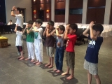 Teacher Kien led the class doing 3 prostrations. KSDS, Alice Tay