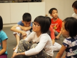 Posh from KSDS 7-8 years old class listening attentively. Stella Cheang, KSDS