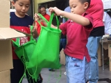 2 brothers~KSDS's students are helping to pack for goodies bags. KSDS, Alice Tay
