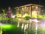 Beautiful night view on Dream Manjushri Pond. www.retreat.kechara.com. Jason KKSG