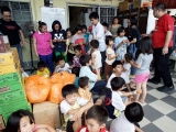 Food distribution to orphanage with KSDS and KSK. Giving is necessary and fulfilling. P. Adeline