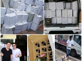 Thank you to the Wine Bar for sending over the empty wine bottles and carton boxes at Kechara Soup Kitchen site. KEP-SERENA