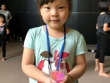 The youngest in the camp, Zoe, shared us her colourful DIY candle. Alice Tay, KSDS