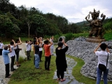 "Paying hommage to Loma Gyoma in Kechara Forest Retreat, Bentong. ""As the emanation of Tara, Loma Gyonma is regarded as Lhamo Rithrodma, the 20th Tara as mentioned in the ""Praise to the Twenty One Taras"". The praise to Lhamo Rithrodma states that her right eye emits blazing rays of light that burns away all the lords of diseases and epidemics."" P. Antoinette - From the article Nageshvaraja and Loma Gyoma arrives to KFR! http://bit.ly/2FJyp0g"