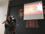 "KSDS teenager student Robey Lim presenting ""Death Meditation"" to her dharma classmates. By Grace Tan, KSDS"