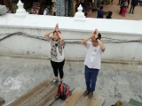 Nepal Pilgrimage 2018 , Picture taken at Boudhanath Stupa, Teacher Grace and Teacher Kien was doing prostration ~ By KSDS Jayce Goh