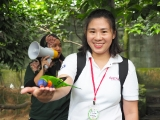 Thank you Yvonne Jie jie come volunteer take care all the students of KSDS, she is demo how to feed the Bird and the bird stay on her hand.by Asyley Chia KSDS