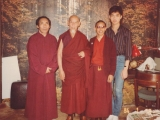 1984 Los Angeles- Left to right: Geshe Tsultrim Gyeltsen, His Holiness Kyabje Zong Rinpoche, monk assistant to Zong Rinpoche and the 18 year old Tsem Rinpoche prior to ordination.