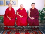 Left to right: 103rd Gaden Tripa Lobsang Tenzin, Gaden Shartse Kensur Jampa Yeshe Rinpoche and Tsem Rinpoche.