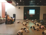 Kechara Sunday Dharma School Class start with full prostration , learning with With devotion we prostrate with body, speech, and mind. It helps to plant the seeds of learning dharma.by Asyley Chia KSDS