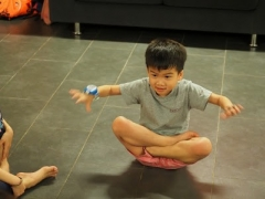 Nice lotus sit done by the youngest class students. Lin Mun KSDS