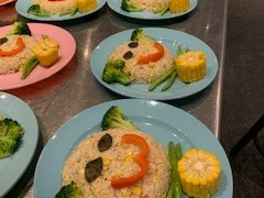 Kids camp 2019 - Who can resist this smiley face fried rice ? Lin Mun KSDS