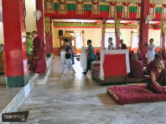Inside the Shar Gaden gompa, going to make body, speech and mind offerings to the high lamas