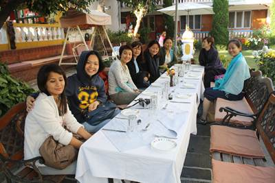 All the ladies @ Kathmandu Guest House for lunch