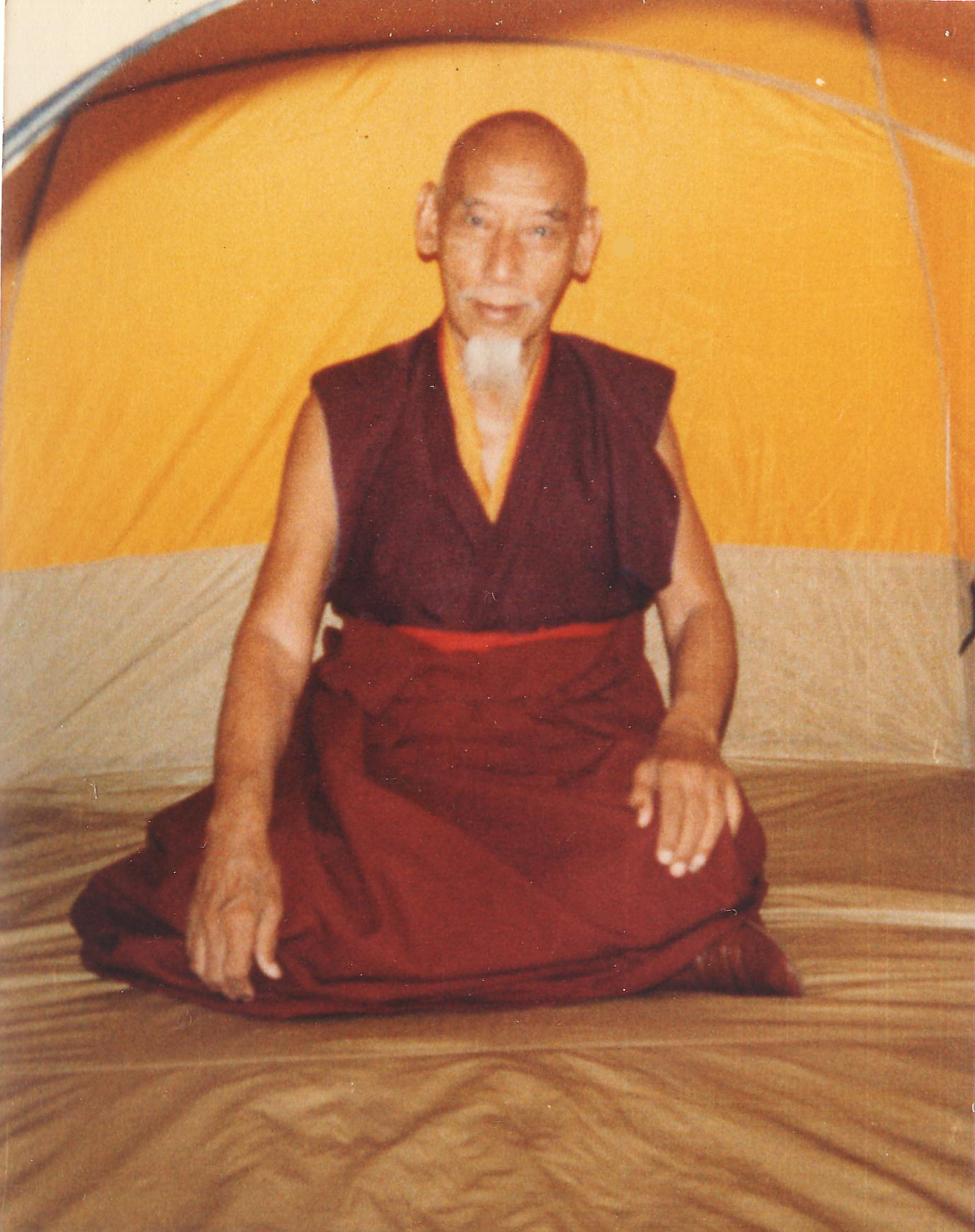 I myself took this picture of His Holiness Kyabje Zong Rinpoche in the back yard of Thubten Dhargye Ling Dharma Centre in Los Angeles where I was living and Zong Rinpoche was staying. Rinpoche was very affectionate towards me and allowed me many special privileges. I was very fortunate. Click to enlarge