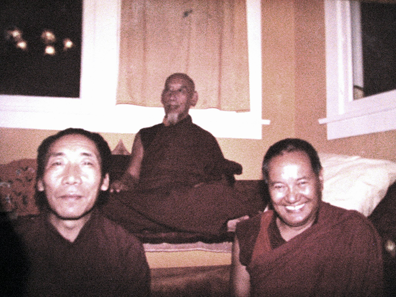 My root guru His Holiness Kyabje Zong Rinpoche (centre) with his illustrious students, Venerable Geshe Tsultrim Gyeltsen (left) who was also my teacher, and Venerable Lama Yeshe (right).