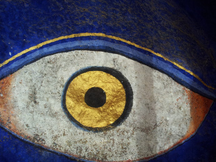 Kyabje Pabongka Rinpoche's attainments are of the highest spiritual calibre. Here we see the self-arisen eye of Heruka at Pabongka Hermitage, a testament of his enlightened mind. Click to enlarge.