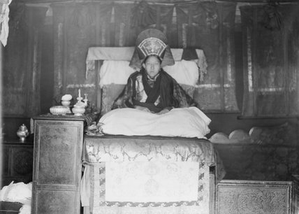 The 11th Samding Dorje Phagmo Tubten Choying Pelmo at Samding Monastery. Unlike most other nuns, the Samding Dorje Phagmo was allowed to wear her hair long, but was never to sleep lying down. In the day she could sleep sitting up in a chair, but was expected at night to remain in a meditative position.