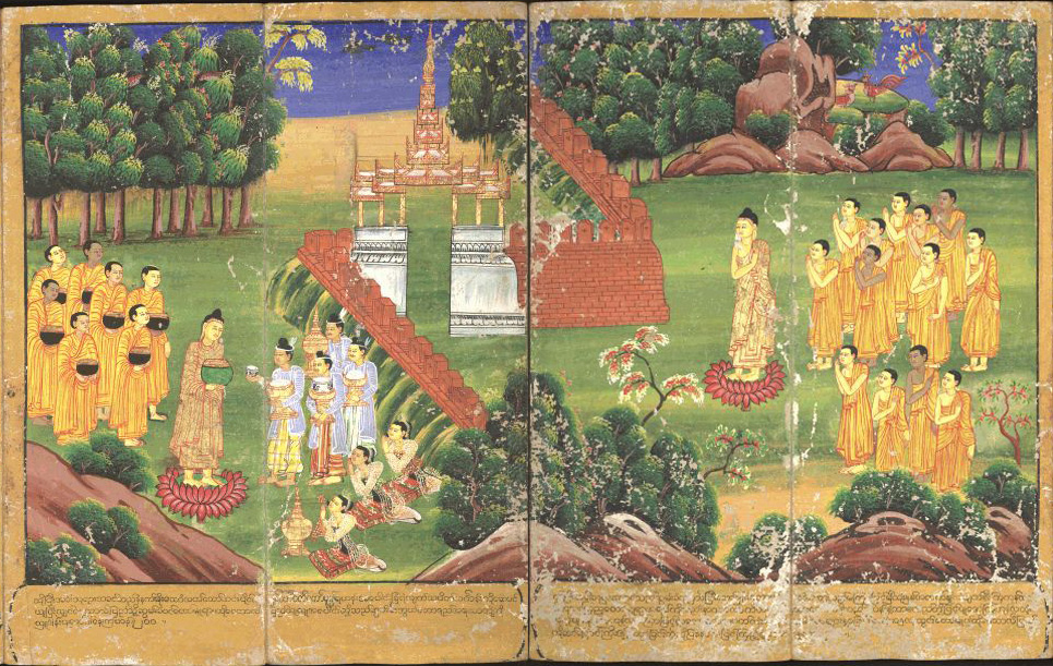 An 18th century Burmese painting of Buddha Shakyamuni and his followers holding begging bowls and receiving offerings.