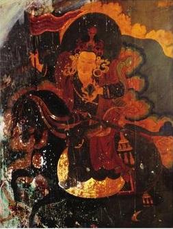 Mural painting of Tashi Ombar, protector of the Bodongpa tradition at Nyemo Chekar Monastery