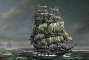 The Flying Dutchman is a legendary ghost ship that can never make port and is doomed to sail the oceans forever. Sightings of the ship have been reported since the late 18th century.
