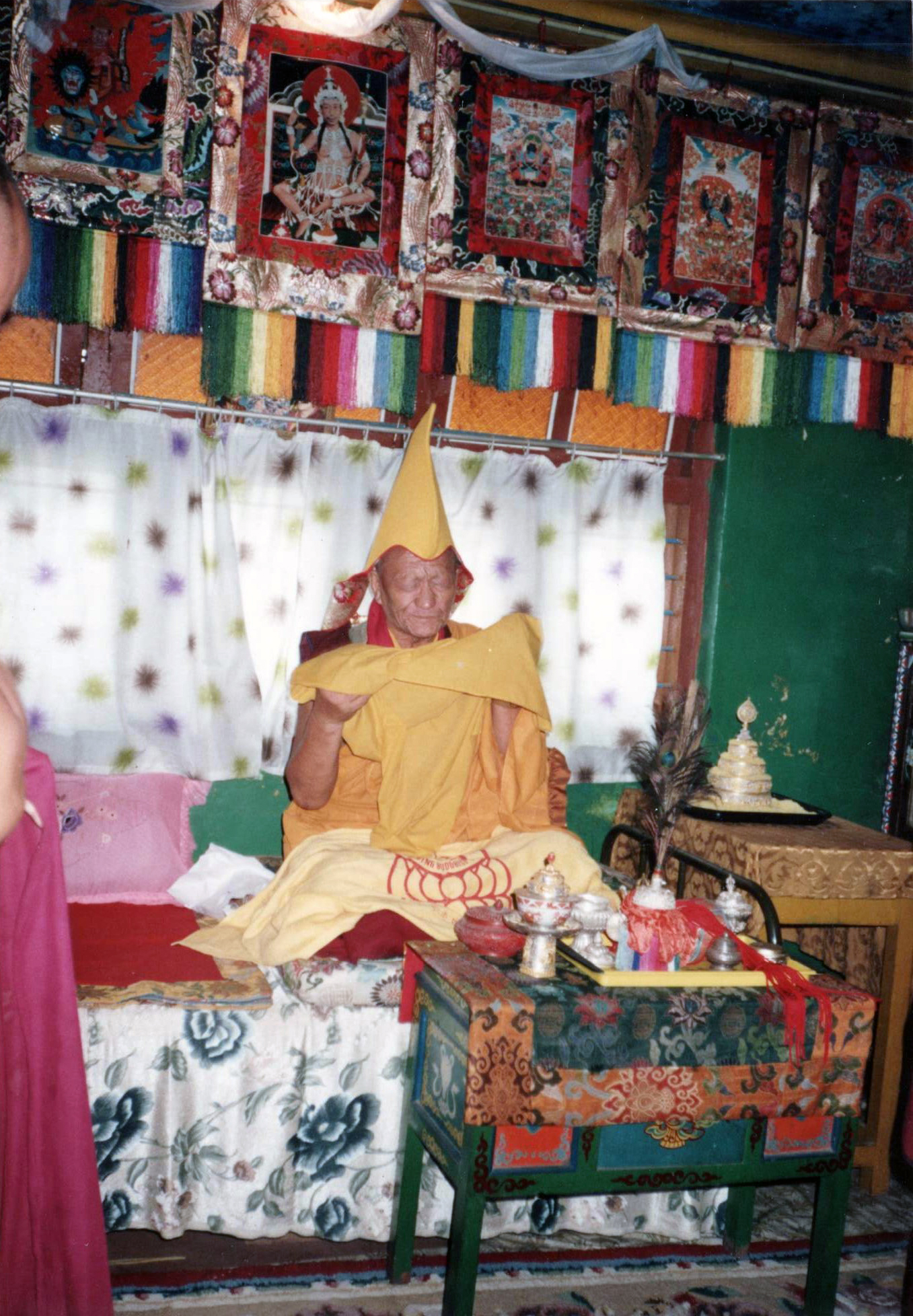 The Oracle of Gaden Monastery taking trance of Duldzin Dorje Shugden in South India, 1993 prior to the Dorje Shugden ban.