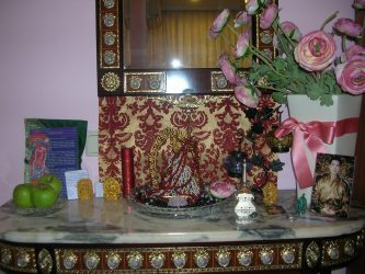The author's personal Vajrayogini altar. She received the Vajrayogini statue from her teacher, Tsem Rinpoche.