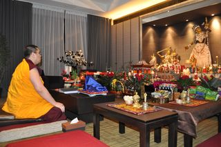 Tsem Rinpoche about to perform Vajrayogini self-initiation (daju)