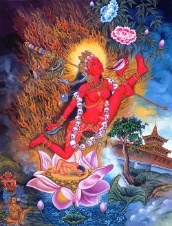 A beautiful image of flying Vajrayogini.