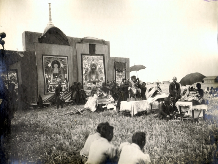 Prayer on the steppe with thangka images. From the G. N. Prozritelev and G. K. Prave Stavropol State Historical-Cultural and Natural-Landscape Museum-Reserve.