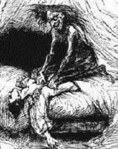 Artist impression on the old hag attacking a 'victim'