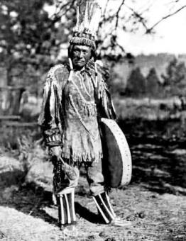 Klamath Indian in his traditional attire