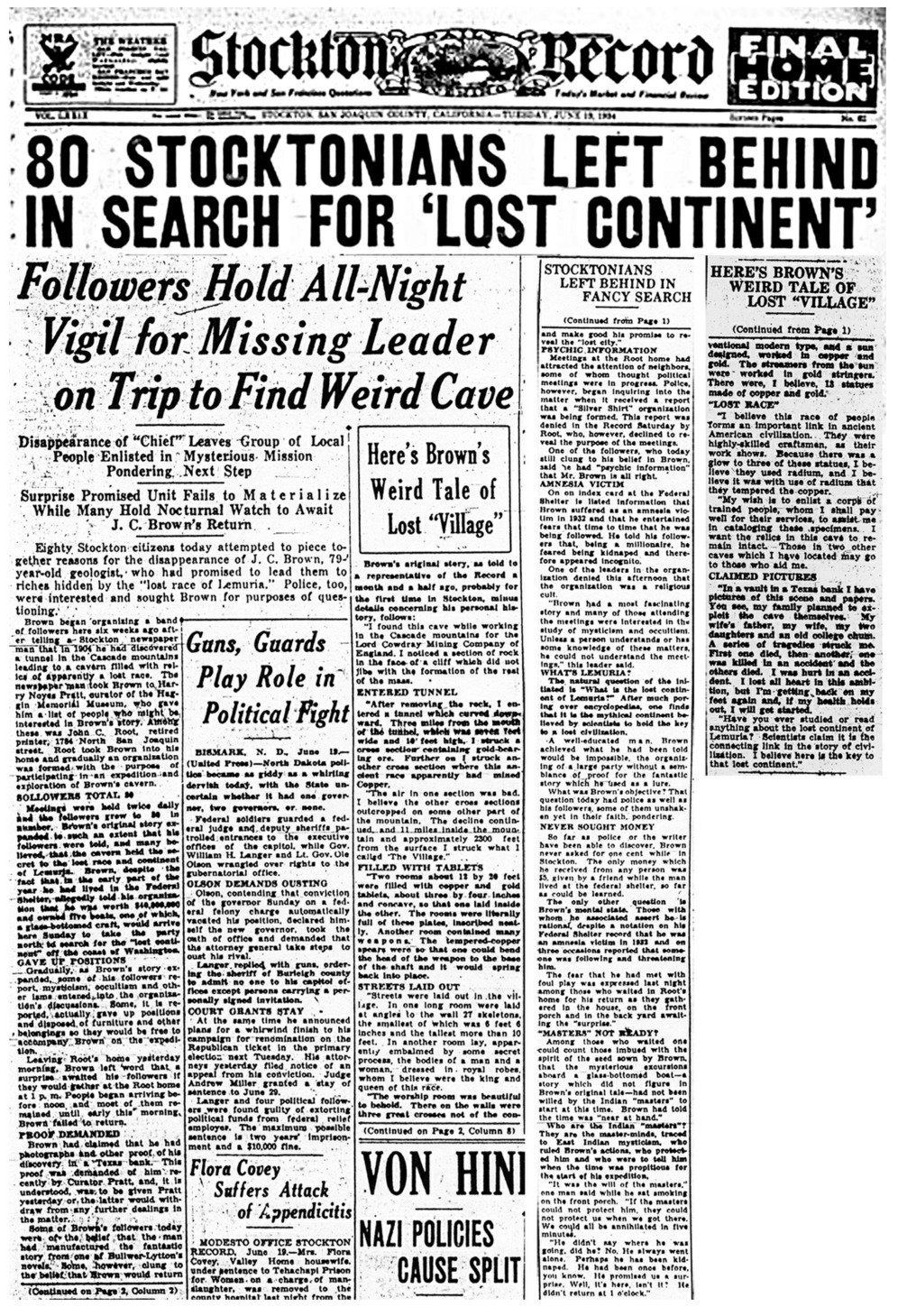 A newspaper clipping from that time reports about the expedition and the disappearance of JC Brown. Click on image to enlarge.