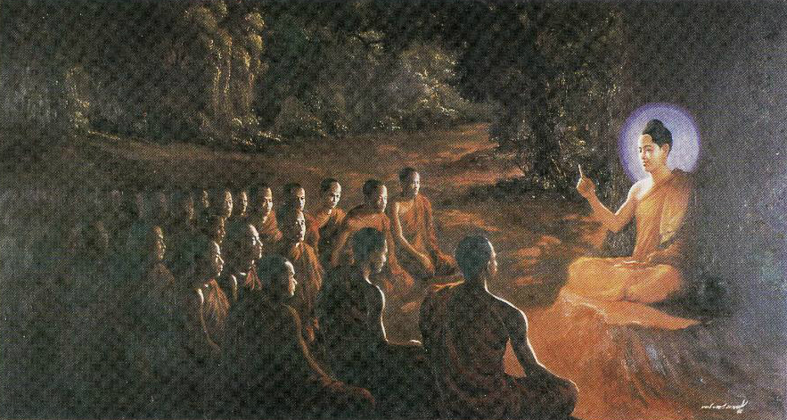 The Buddha encouraging his first sixty arahant disciples to preach the Dharma for the welfare and happiness of all beings.