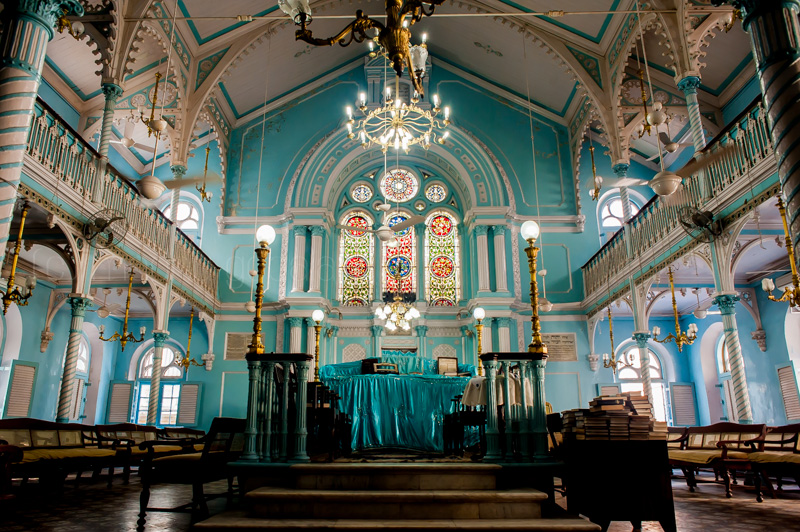 Knesset Eliyahoo synagogue in Mumbai, India is the city's second oldest Sephardic temple.