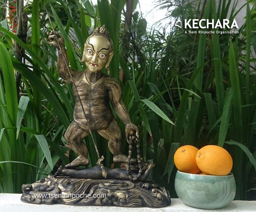 This stunning Methar statue carved of wood is on the main Dorje Shugden altar as part of the entourage in Kechara Forest Retreat.