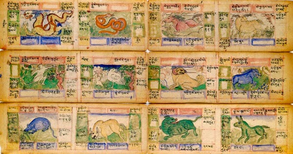 A Tibetan astrological diagram containing the 12 Animal Signs as originated in China