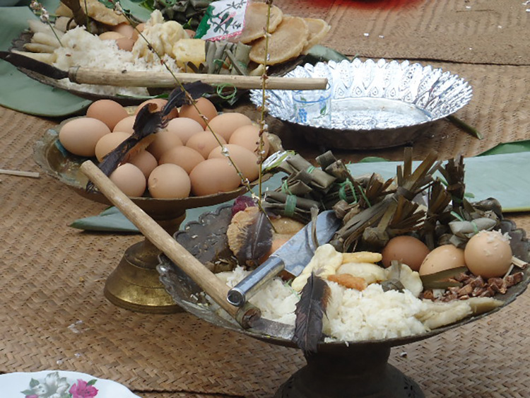 Traditional Dayak offerings to the deities