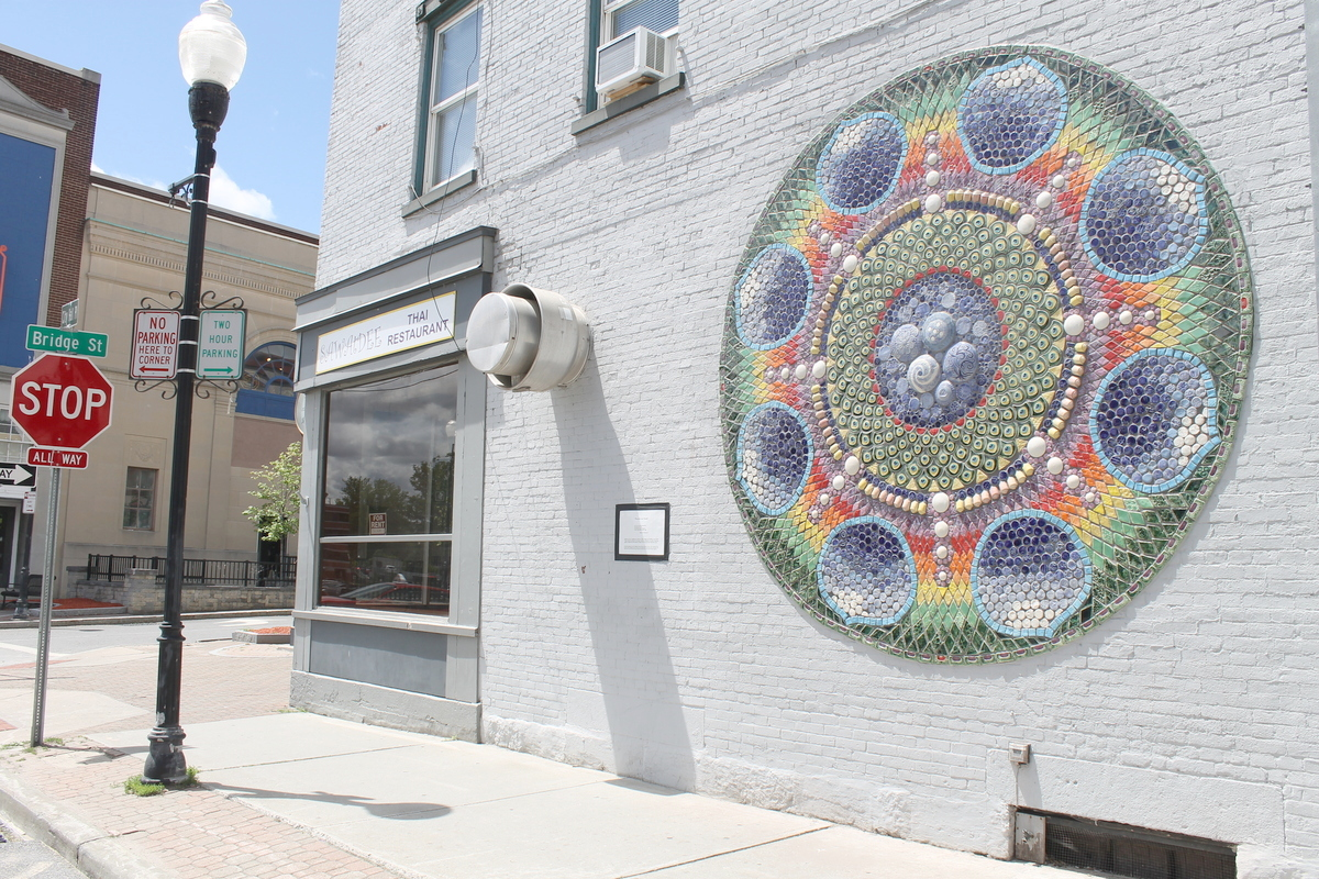 The finished Mountain Lake Mandala in downtown Plattsburgh, which stands as a permanent tribute to Tibetan culture. Photo: Zach Hirsch
