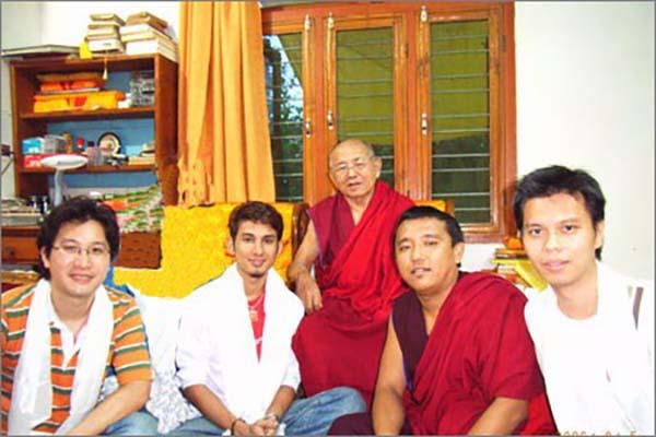 Tsem Rinpoche's students Pastor Chia, Kb and Paul visiting Kensur Konchok Tsering Rinpoche in Gaden Shartse Monastery.