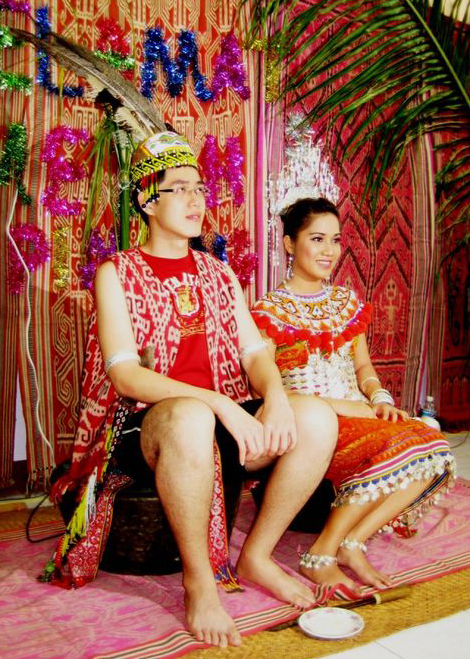 An Iban couple in traditional attire