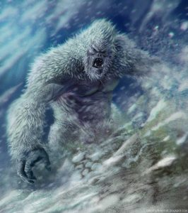 An artist's impression of the yeti, although somewhat inaccurate since yetis have brown hair or fur. The white hair is based on the assumption that white is easier to camouflage in the snow.