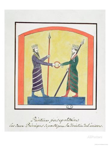 Another depiction by Zoroaster between the two opposing forces - Ahura Mazda and Angra Mainyu. Interestingly, evil was not depicted in the form of the Devil as we have come to know.