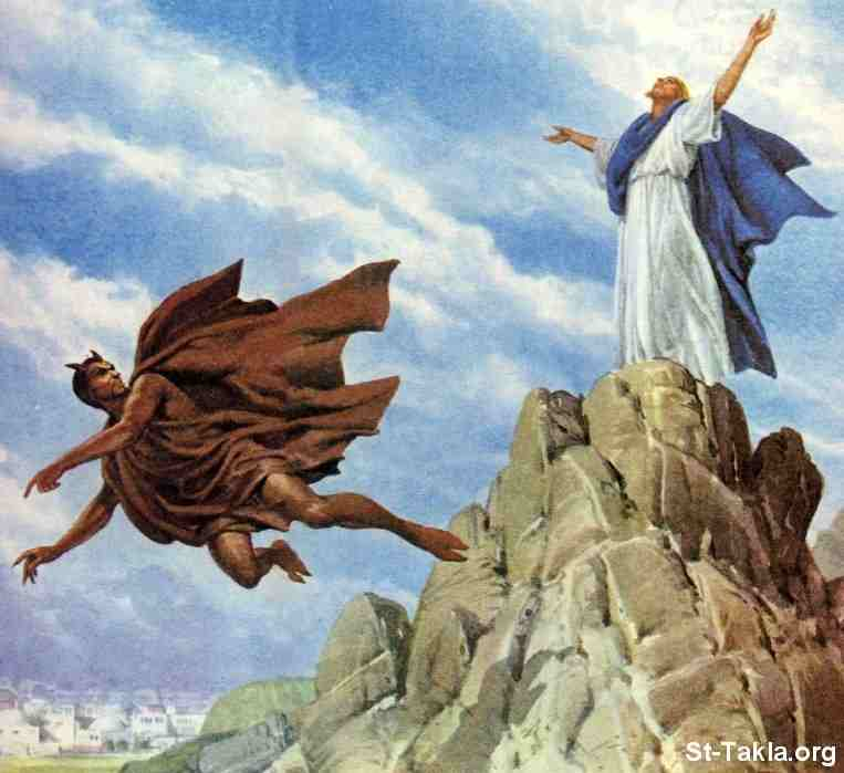 The temptation of the Son of God by Satan, as depicted in the New Testament