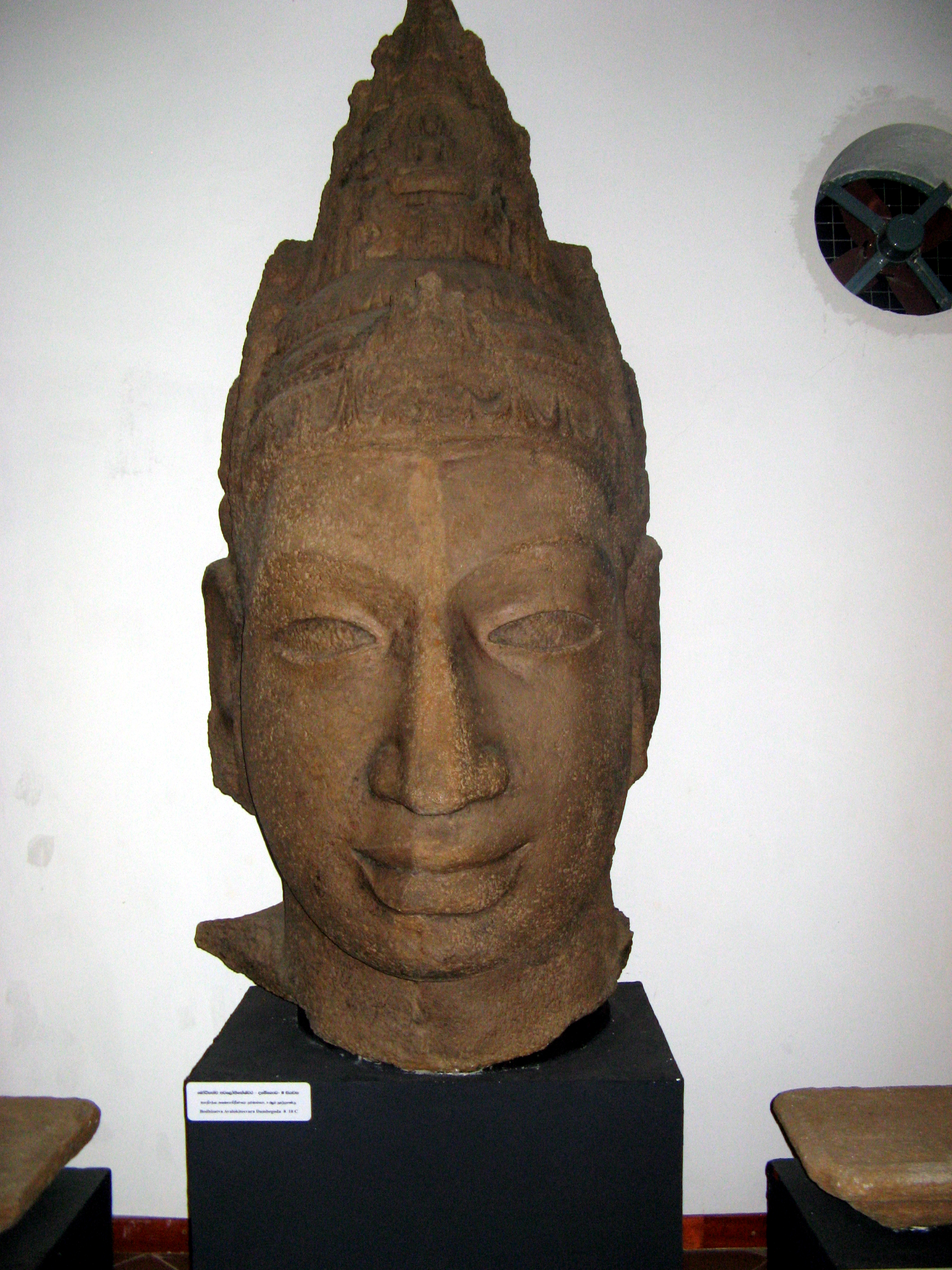 This Avalokiteshvara's head was found in Dambegoda, near the border of Yala National Park, in Sri Lanka. The image was dated between the 8th and 10th century.