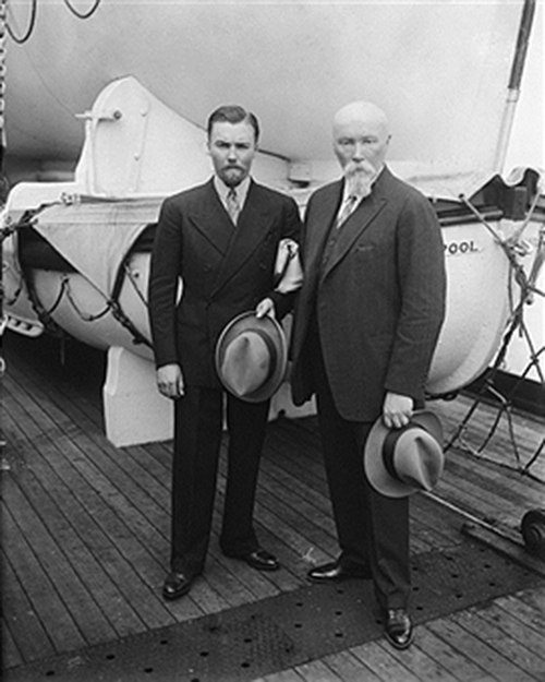 Returning after four years in Central Asia, Nicholas Roerich and George Roerich are shown as they arrived in New York City on the S.S. Majestic
