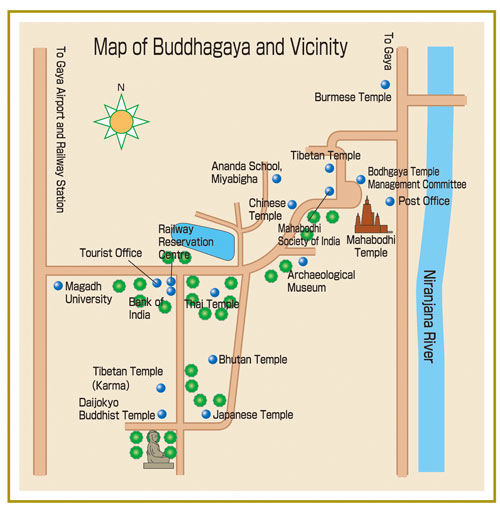 Map of Bodhgaya that marks the location of the Mahabodhi Stupa along with other places of interests.