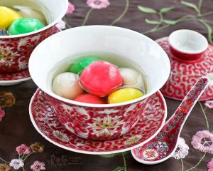On the 15th day of Chinese New Year it is customary for everyone to have a bowl of tang yuan, which symbolises growth.